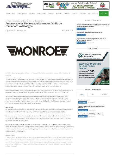 Amortecedores Monroe equipam nova família de caminhões Volkswagen
